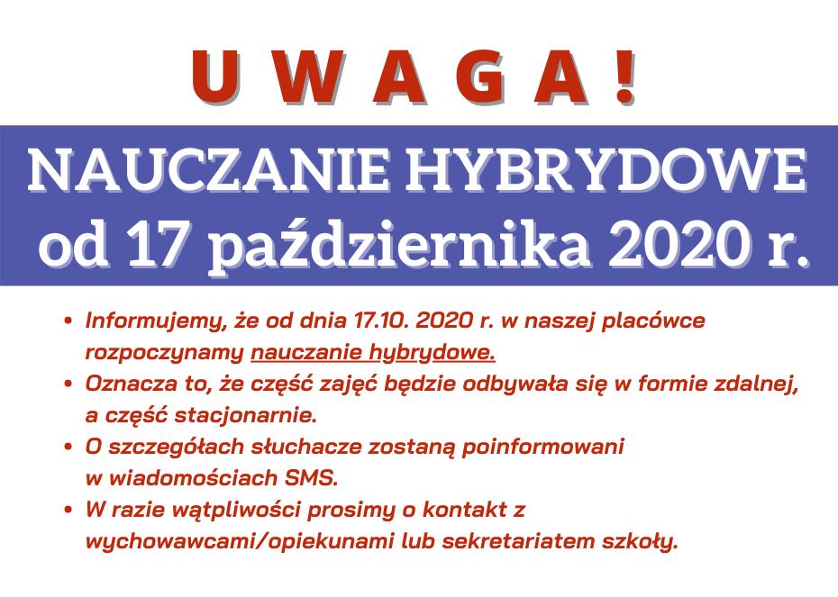 Nauczanie hybrydowe od 17.10.2020 r.